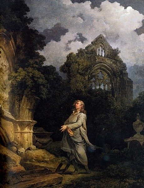 Visitor to a moonlit churchyard - James Loutherbourg