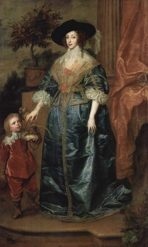 Queen Henrietta Maria with Sir Jeffrey Hudson - A. Van Dyck