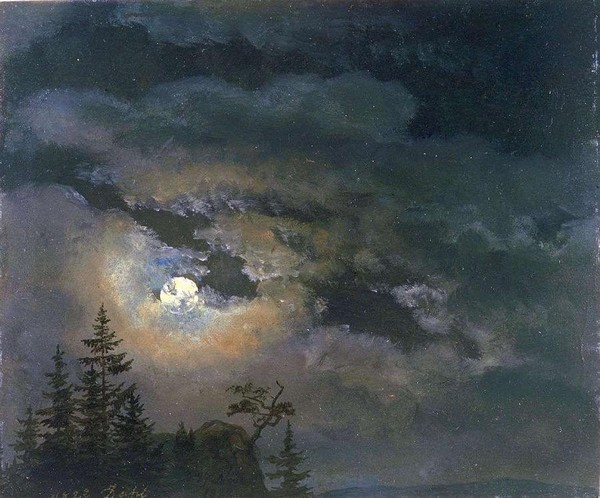 A Cloud and Landscape Study by Moonlight - Johan Christian Dahl