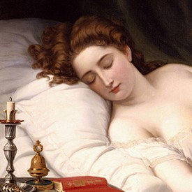 Imogen in her bed-chamber where Iachimo witnesses the mole under her breast. Wilhelm Ferdinand Souchon