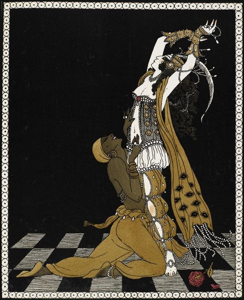 Vaslav Nijinsky & Ida Rubinstein in Schéhérazade, Paris, 1910. By George Barbier