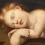 The Child Jesus sleeping on a cross - F. Albani