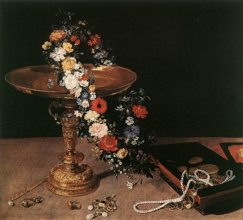 Still-life with garland of flowers and golden tazza- Brueghel the Elder/