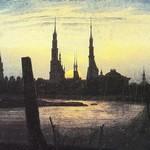Stadt bei Mondaufgang (Stadt am Wasser bei untergehender Sonne), 1817