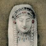 portrait de Bilitis dessiné par P. Albert Laurens d'après le buste polychrome du musée du Louvre.