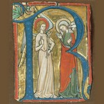 Manuscript Illumination with the Annunciation in an Initial R, from a Gradual. ca. 1300