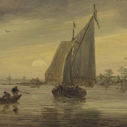 Sunrise over the Haarlemmermeer with a schmalship and other boats  - Jan van Goyen
