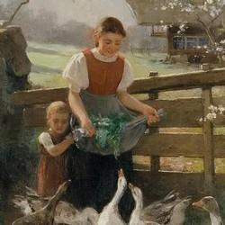 Kinder mit Gänsen - Franz Xaver Gräßel
